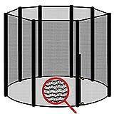 awm® Trampolin Sicherheitsnetz für 8 Stangen - System Fangnetz Netz außenliegend Trampolinnetz Ersatznetz schwarz 300cm- 305cm