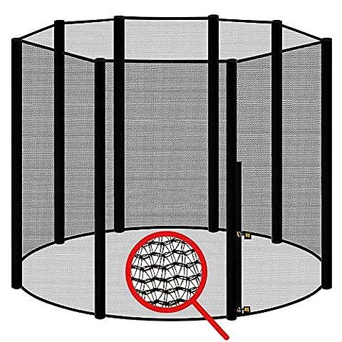 AWM Trampolin Sicherheitsnetz für 8 Stangen - System Fangnetz Netz außenliegend Trampolinnetz Ersatznetz schwarz 300cm-