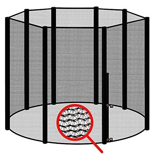 awm® Trampolin Sicherheitsnetz für 8 Stangen - System Fangnetz Netz außenliegend Trampolinnetz Ersatznetz schwarz 360cm- 366cm
