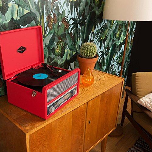 auna Belle Epoque 1907 Plattenspieler Retro Stereoanlage MP3-Funktion zum Digitalisieren (MP3 CD-Player, Kassettendeck, Radio-Tuner, Bluetooth, USB-Anschluss, AUX) rot -
