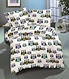 10 tlg Warme Microfaser Fleece Winter Bettwäsche 135x200 Kuschel Flausch Eule + Fleece Spannbettlaken