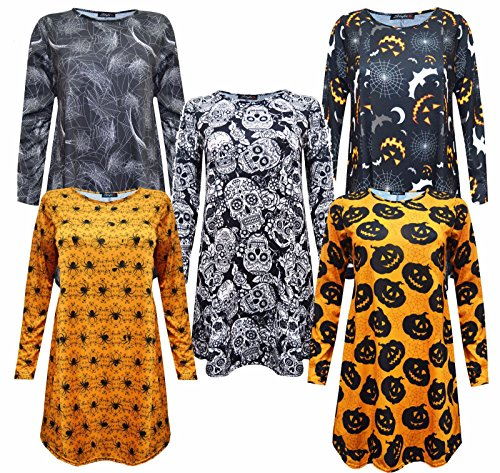 Generic - Robe - Swing - Manches Longues - Femme Bats & Spider Web Print