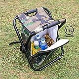 Feeyoo Sgabello Pieghevole da Pesca con Zaino- Sgabello Refrigerante da Campeggio Portatile con borsa termica da picnic per viaggi all'aperto, escursionismo, pesca, spiaggia, BBQ, casa ed outing