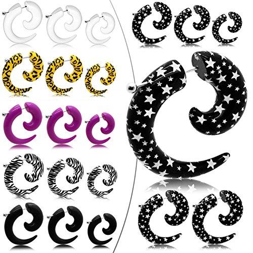 tumundo 1 Paire Faux Plugs Plug Fakeplugs Ecarteur Boucle d'Oreille Dilatateur Piercing 6mm Acrylique Animalprint Star mod 2
