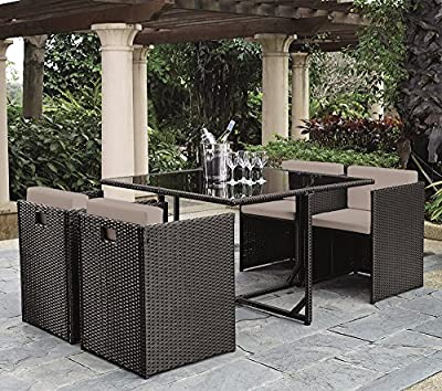 St.Lucia Outdoor Rattan Patio Set Inc Dining Table and 4 Dining Chairs in Golden Brown