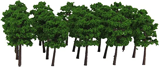Generic Plastic Model Trees Train Railroad Scenery 1:250 40pcs Dark Green
