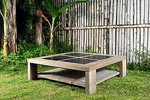 """Table basse teck avec pierre de sumatra """"Equateur"""" 100cm Meuble House"""