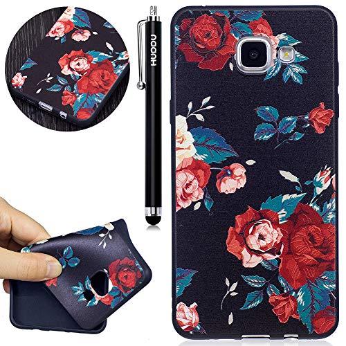 Schutzhülle Samsung Galaxy A3 2016 A310 Silikon Handy Hülle Rot Blume Muster Motiv Handyhülle 3D Karikatur Case Weich Soft Flexibel TPU Ultra Dünn Back Cover Crystal Stoßfest ()
