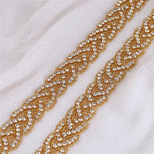 1yard handgefertigt Perlen mit Strass Trim, Kristall Applikation Zierteile für Bridal Kleid Party Kleid Kleid Home Dekorationen Goldgelb (Gold-sparkle-blumen-mädchen-kleid)