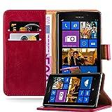 Cadorabo Hülle für Nokia Lumia 925 - Hülle in Wein ROT – Handyhülle im Luxury Design mit Kartenfach und Standfunktion - Case Cover Schutzhülle Etui Tasche Book