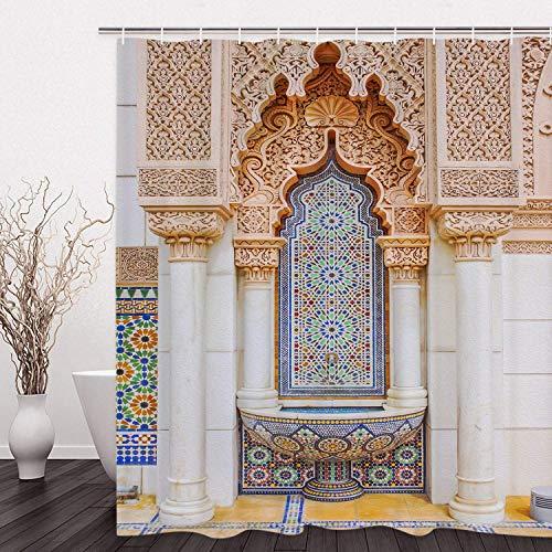 hdrjdrt Cortina de Ducha marroquí Edificio de Arte Vintage Patrón de Mosaico Cortina de Ducha del baño Durable Resistente a Prueba de Agua