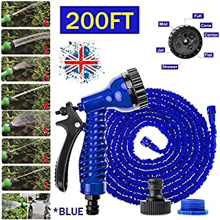 Autofather 200FT Expandable Hose Flexible Light Weight Garden Home Water Pipe with 7 Spraying Modes Spay Gun Universal Connector for Washing, Cleaning, Watering, Gardening (Blue)