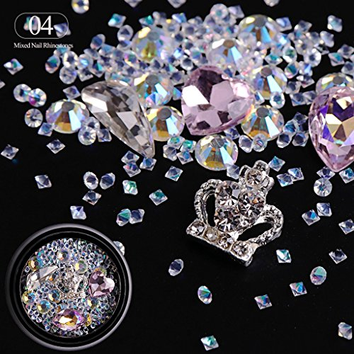 LQZ(TM) Nagel Strasssteine 3D in verschiedenen Größen Kristall Glitter Strass Steinchen UV Gel Naildesign #4