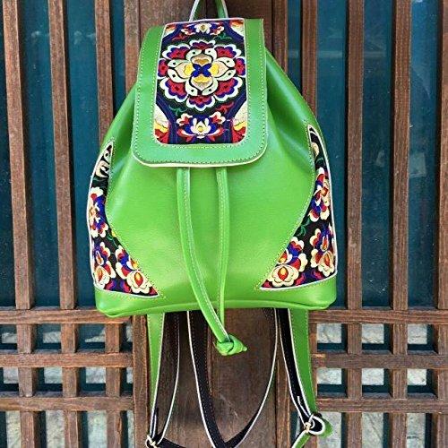 Meine Damen national wind Leder bestickt Umhängetaschen elegante Rucksack Taschen, orange-rot Temperament Brown