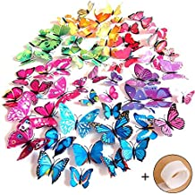 Goodlucky365 72 Piezas 3D Mariposa Pegatinas de Pared Etiquetas Engomadas Mariposas Decoración de la Pared Para Hogar Casa Habitación (12 Azules,12 Púrpuras,12 Verdes,12 Amarillos,12 Rosas,12 Rojas)