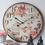 Charmante Landhaus Wanduhr, Uhr, Shabby, French Chic, XXL,60cm,groß,ROSE,vintage