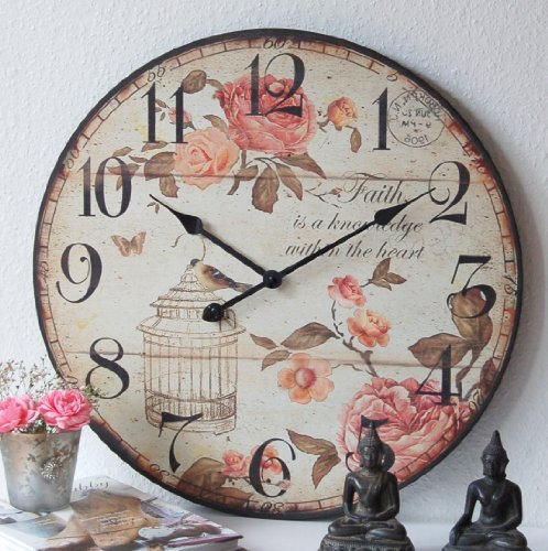 Charmante Landhaus Wanduhr, Uhr, Shabby, French Chic, XXL,60cm,groß,ROSE,vintage