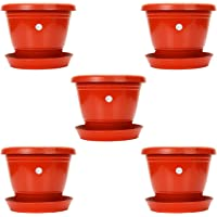 Kraft Seeds Gate Garden 7-inch, 18cm Plastic Flower Plant Pots/Container Indoor, Red Set of 5 Planters with Drainage…