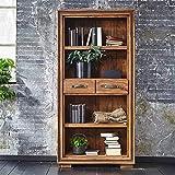 Pharao24 Landhaus Bücherregal aus Sheesham Massivholz Zwei Schubladen