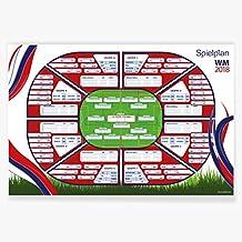 Fußball Grösse 140x100 cm XXL WM Spielplan 2018 Weltmeisterschaft Russland