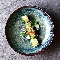 Gweat Tinta Creativa De La Vendimia Tazón De Cerámica Verde Gran Capacidad Placa De Ensalada De Placa De Fruta Underglaze Color Home Ramen Bowl Vajilla (Color : 1)