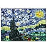 Fokenzary - Pittura a olio su tela realizzata a mano, riproduzione del classico cielo stellato di Vincent Van Gogh, già incorniciata, pronta da appendere al muro, Tela, 60x80cm