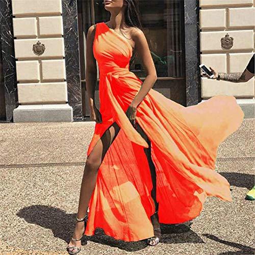 COOINS-QZXL Mode sexy großen Schaukel Schulter Chiffon langes Kleid, orange, XL
