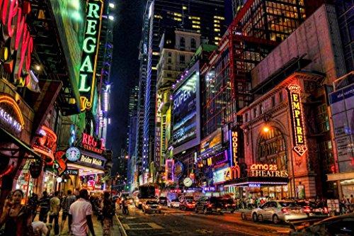Poster Gießerei New York City Times Square Theater District Beleuchtet Bei Nacht Foto Kunstdruck von proframes 54x36 inches Poster