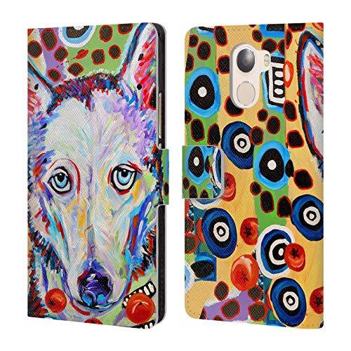 Head Case Designs Offizielle Mad Dog Art Gallery Husky DOO Hunde 2 Brieftasche Handyhülle aus Leder für Wileyfox Swift 2X (Doo Head Doo)