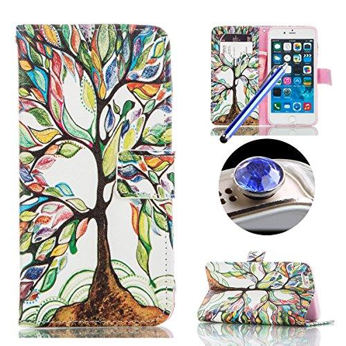 Etche Coque pour iPhone 6/6S 4.7 pouces,PU Cuir Portefeuille Housse de Protection Wallet Cover Flip Case avec Stand Support pour iPhone 6/6S 4.7 pouces,Luxe élégant chats mignons léopard fleurs arbres arbre de peinture à l'huile