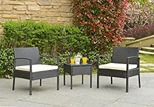 Unmatchable Rattan Wicker 3pc Furniture Set - INCLUDES 2 Cushioned Chairs + Bistro Glass Table (Black)