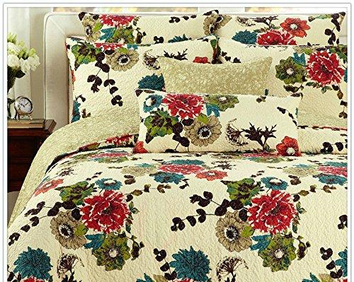 Baumwolle Spring Country Garden Tagesdecke Set, baumwolle, Multi, Beige, Cream, Green, Blue, Red, King Size ()
