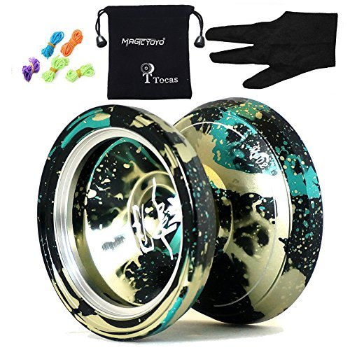 Authentic MAGIC YOYO & Yostyle M002 Aluminium Professional Yo-yo balles avec 5 cordes et gants, pour les cadeaux enfants (Noir Vert et Jaune)