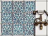 Fliesenfolie Klebefolie Fliesen - CREATISTO Fliesenaufkleber Fliesensticker | Fliesen Aufkleber Folie Sticker für Küche Bad Badezimmerdeko | 20x20 cm - Motiv Hamam Vibes - 9 Stück