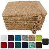 Lanudo® Luxus 10er Set Waschlappen / Waschhandschuhe 16x21 cm, 600g/m², 100% Baumwolle, Serie Pure Line in höchster Qualität, Farbe: Beige/Sand