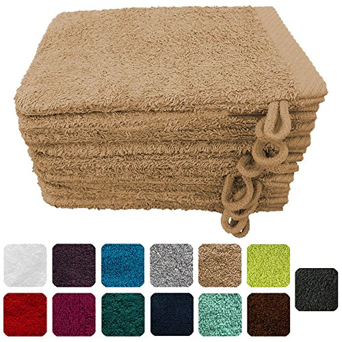 Lanudo Luxus 10er Set Waschlappen / Waschhandschuhe 16x21 cm, 600g/m², 100% Baumwolle, Serie Pure...