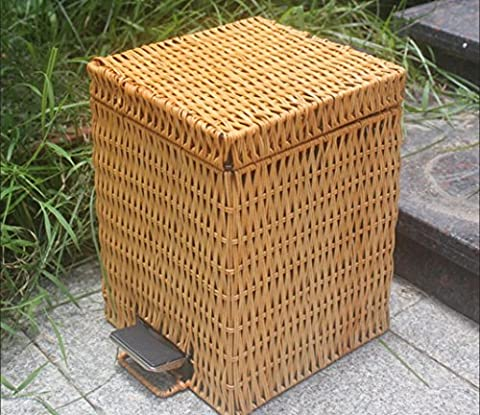 DULA®Dustbin Dustbin Bamboo Rattan Rendezvous Square Trash Canopy Miniature Creative Large Footbed Toilet Small Trash Can , Yellow , 12L
