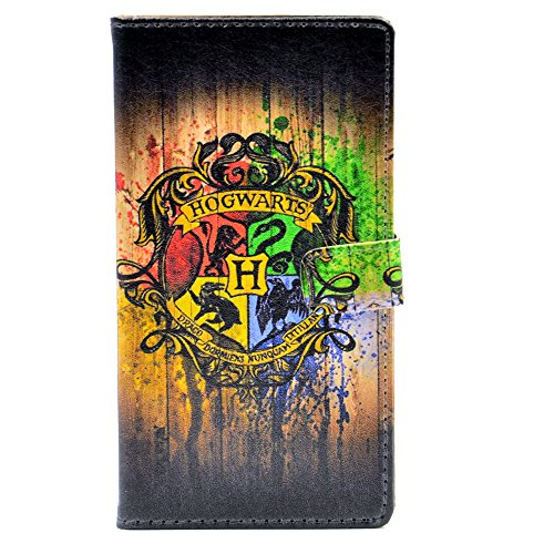 Hogwarts Watercolor Art Muster Leder Brieftasche Karte Flip Ständer Schutzhülle für Samsung Galaxy S5 (Harry Potter S5 Fall)