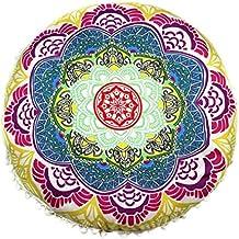 "Cojines indio Mandala piso almohadas redondas de almohadas de cojín bohemio cubierta funda By LMMVP (43*43cm/(17.0*17.0""), I)"