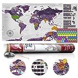 murando - Rubbelweltkarte englisch XXL - 100x50 cm - Weltkarte zum Rubbeln mit Länder-Flaggen - Laminiert - Design Geschenk-Tube - Viele Extras - Rubbel Landkarte Poster zum freirubbeln - Geschenk Idee - World Map - k-A-0222-o-b