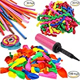 POAO 190 Pz Palloncini Colorati,Palloncini modellabili,e Pompa,e nastro in raso,per Party Decorazioni, Feste,Compleanni, Matrimoni, Decorazione