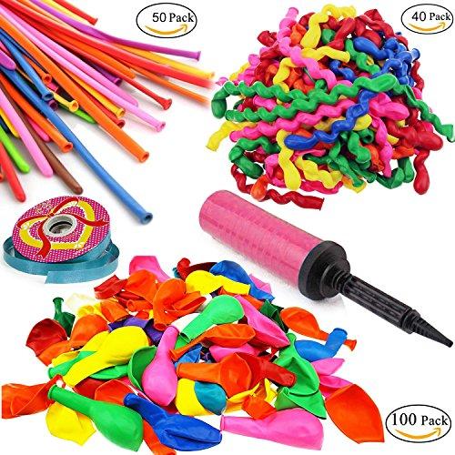 Preisvergleich Produktbild POAO 190 Stücke Luftballons,Sortierte Farben Modellierballons Party Ballons und 1 Ballonpumpe und 1 Rolle des Bandes, für Geburtstagsfeiern, Party, Hochzeitsfeiern (3style, Multicolor)