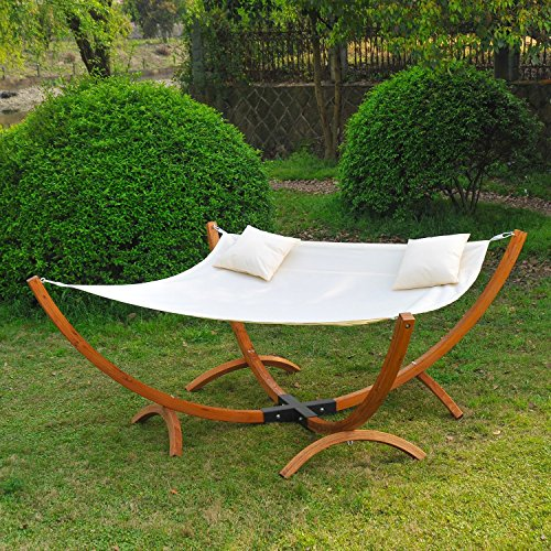 Homcom Garden Patio Wooden Frame Hammock Sun Bed Lounger Canopy Swing Plus 2 Pillows - Cream