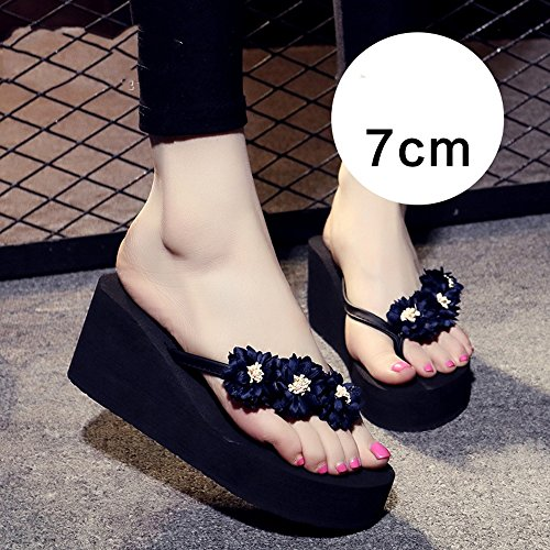 Estate Sandali Pantofole donna antisdrucciolo (rosa / blu scuro / azzurro / marrone) Colore / formato facoltativo 7cm Dark blue