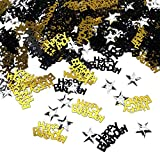 iZoeL Confettis Noir Or Happy Birthday 240pcs + Argent étoile 350pcs Décoration de Table.