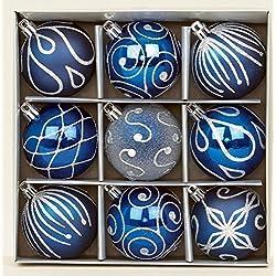 Set di 9 palline di Natale color blu notte, 6 cm