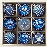 Set of 9 Midnight Blue Christmas tree baubles 6cm by Premier