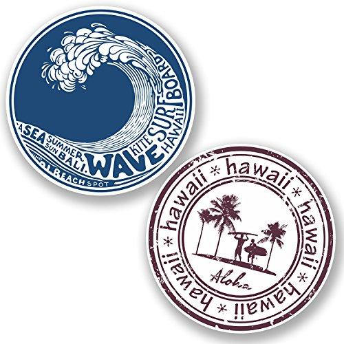 2 x Hawaii Aloha Vinyl Sticker iPad Travel Luggage Laptop Surf Tag#4841 Surfer 10  cm x 10  cm como se muestra