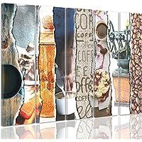 Feeby Frames, Grande Formato Quadro multipannello di 5 pannelli, Quadro su tela, Stampa artistica, Canvas XXL, Tipo C, 120x250 cm, MODERNO, COLLAGE, DOLCI, GRANO, CAFFÈ, TAZZA, MARRONE, MULTICOLOR