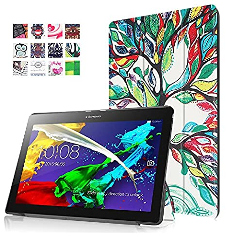 Lenovo Tab 2 A10-30 Tasche, FEING Tri-Folding Schutz Tablette Schale Hülle Kunstlederhülle Schutzhülle Tablette Tasche für Lenovo Tab 2 A10-30 10 Zoll, Stylus Stift x1 enthalten, CHTAB
